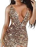 Aphrotiny Women's Sexy Glitter Dress Sparkly Deep V Bodycon Mini Club Party Dress Gold