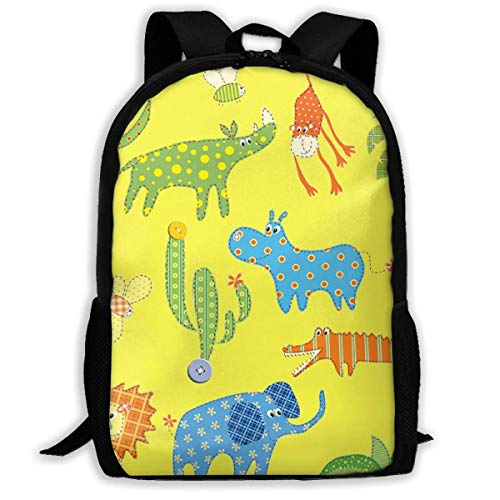 Jungle Animal Monkey Flaming Elephant Personalized Casual Sac à Dos Ultra Light Adjustable Strap Unisex for Outdoor Travel