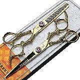 ZWJ-JJ Rosa de diamantes de 6 pulgadas tijeras profesionales for el cabello, corte de peluquería de oro y tijeras adelgazamiento conjunto