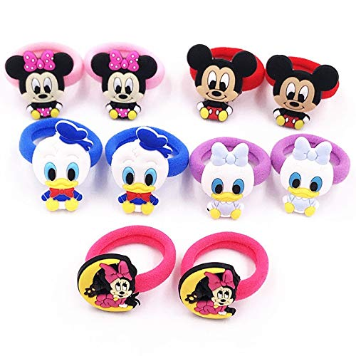 HUANGRONG 10PCS Nylon Mickey Minnie Daisy élastique Cheveux Élastique Enfants Serre-tête Enfants Accessoires Cheveux Fille Bande Cheveux Cartoon Gum Cheveux (Color : Chocolate)