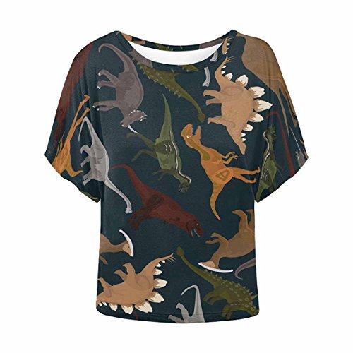 INTERESTPRINT Women Summer Blouse Short Sleeve Shirt Tops Dinosaurs Black XXXL