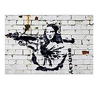 バンクシーキャンバスプリントウォールアート、ロケットランチャーとヘッドフォン付きモナリザ、ストリートグラフィティアート、ゲリラ絵画、家の装飾のためのモダンなポスターアートワーク,50×75cm