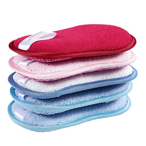 Huante - Cepillo de limpieza antibacteriano para plato sin olor, con esponjas para sellar doble cara, para cazuelas y ollas, pack de 5 colores aleatorios