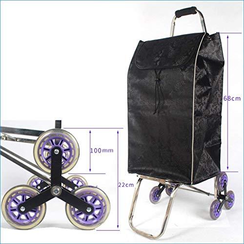 Zjnhl JIAN Trolley Folding Shopping Trolley Stair Climbing wagen met quiet Tri-wielen Grocery Serveerwagen met wiellager (kleur: rood)