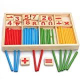 Fliyeong Palo de inteligencia matemática preescolar de madera, juguete creativo y útil para aprender temprano