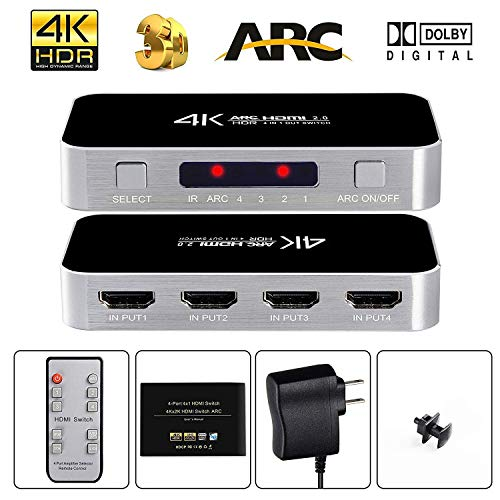 avedio links HDMI Switch with Audio Out, 4K@60Hz 4 Port 4 x 1 HDMI Switcher Selector with IR Wireless Remote Control,Max Bandwidth of 18Gbps, Support DTS-HD/-TrueHD/DTS/ -AC3/ DSD