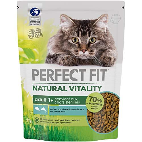 Perfect Fit Natural Vitality - Croquettes pour chat adulte, riche en saumon et poisson blanc, 6 sacs de 1kg (6 x 1kg)