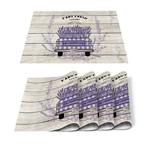 FAMILYDECOR Pack of 6 Placemats for Wedding Purple Lavender Flower and Farm Truck Retro Wood Grain - Stain Proof Place Mats for Dining Tabletop Protect, Non Slip Table Mats - Cotton Linen