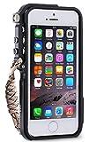 iPhone5sケース、iPhone5ケース、iPhone SEケース カバー、【RZS】[スクラッチ保護] [ドロップ保護] [耐震] メカニカルアームシェイプ保護金属シェル[ネックストラップ付き] 航空宇宙アルミニウムアイフォン5s/SE/5用 耐衝撃カバー (iPhone 5/5s/SE, ブラック)
