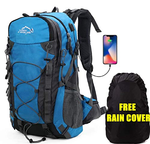 Meisohua Deporte al Aire Libre, 40L Viaje Mochila Trekking Senderismo Excursionismo Alpinismo Escalada Camping para Hombre Mujer USB - Azul
