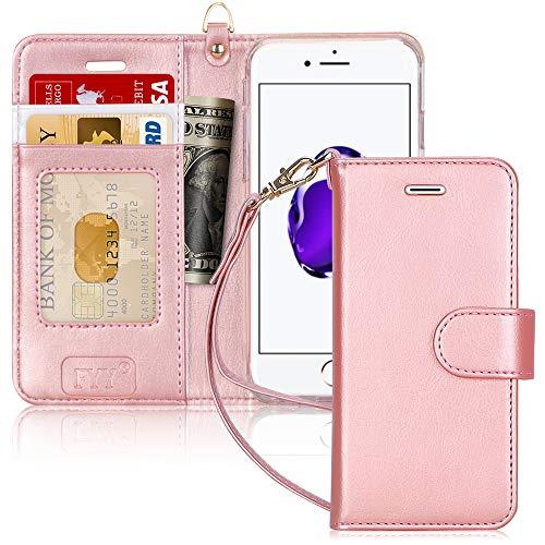 """FYY Etui Coque iPhone 7/8, Coque iPhone SE 2020, [RFID Portefeuille Blocage] Fait Main Housse Portefeuille avec Béquille Protecteur de Carte de crédit pour Apple iPhone SE 2020/8/7 4.7"""" Rose Or"""