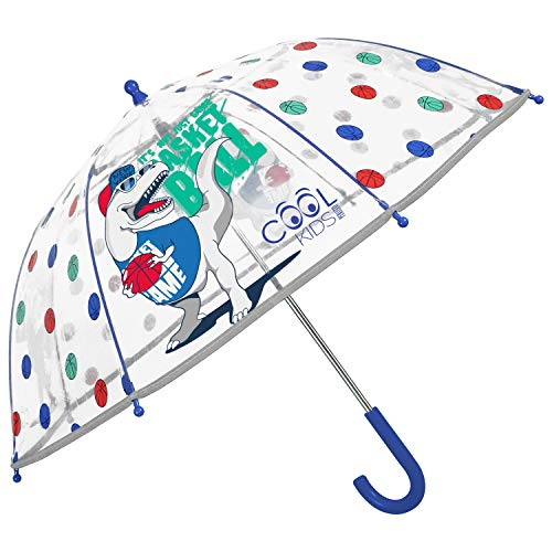 Regenschirm Kinder Transparent Dino Saurier - Dinosaurier Kinderregenschirm Reflektierend für Kleine Jungen 3/5 Jahre - Regen Schirm T Rex Basketball Spieler - Durchm 64 cm - Perletti (Dinosaurier)