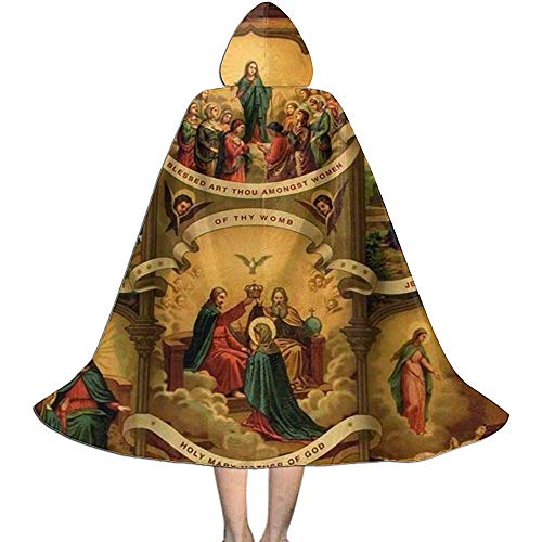 SHENGXING Fancy Cape,Virgen María Católica con Capucha Capa Larga Capa para Navidad Disfraces De Halloween Cosplay M