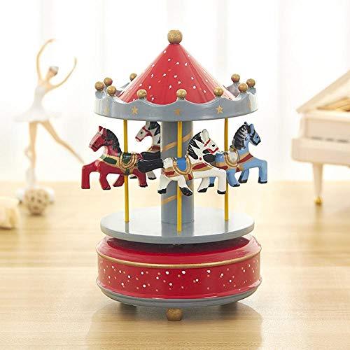 selfdepen Hölzerne Karussell-Spieluhr, handbemalt, umweltfreundlich ungiftige Sprühfarbe Sky City konische Klassische Spieluhr Geburtstagsgeschenk - 5