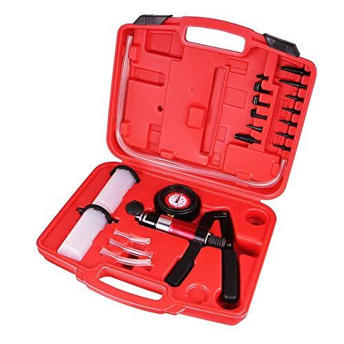 Aufun Bremsenentlüfter Set Vakuumpumpe Bremsenentlüftung tragbar Tester Handheld Unterdruckpumpe Bremse Vakuum Werkzeug Universell für Fast alle PKW LKW Bremsen