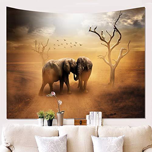 BATOHOME Tapiz Pared, Tapiz De Pared Naturaleza, Poliéster Tapicería Pared, Tapiz De Pared Vintage Par de Elefantes en el Desierto Amarillo Tapiz 150x230CM