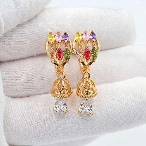 18K Yellow Gold Filled Multi-Color Mystic Topaz Bell Dangle Huggie Earrings