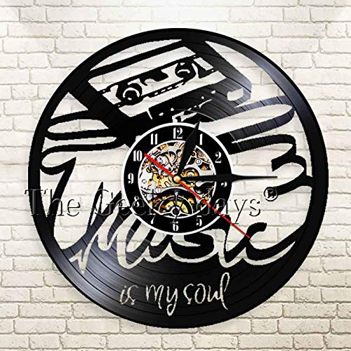 KEC 1 Pieza Gramófono Relojes de grabación Tema Musical Iluminación LED La música es mi Alma Reloj de Pared Reloj de Vinilo Hecho a Mano Regalo para Amantes de la música | Reloj música