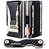 MouZie Carbon Fiber Money Clip + Cash Strap Band Slim Aluminum RFID Blocking Minimalist Premium Front Pocket Credit Card Holder edc Wallet + Compact Key Organizer Keychain Set Gift For Men Women