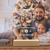 Marco Placa con Codigo Spotify de Fotos Personalizadas Escaneable Cancion Tablero Vidrio con Base Madera Lamparas de Mesita de Noche