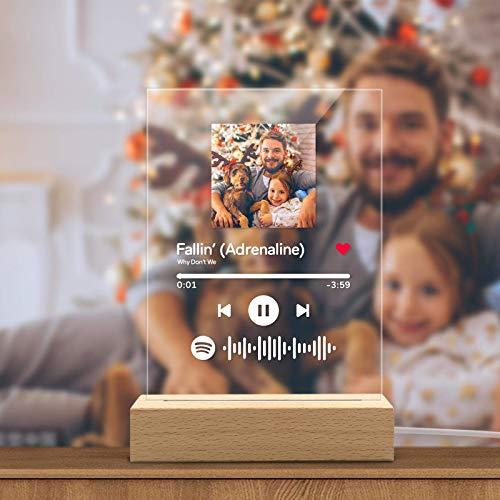 Personalizzato Spotify Glass Art Night Light Acrilico Musica LED Targa Scansione Foto Glass Song Album Display Regalo Compleanno Matrimonio Anniversario San Valentino Camera Comodino Decor