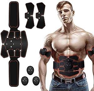 Moonssy Elettrostimolatore Muscolare ABS, EMS Stimolatore Muscolare, Elettrostimolatore per Addominali per Uomo e Donna Addome Braccio Vita Gambe