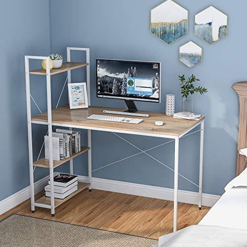 Escritorio para ordenador con 4 estantes de almacenamiento – Mesa de estudio con estantería moderna de madera con marco de acero para espacios pequeños, hogar, oficina, estación de trabaj