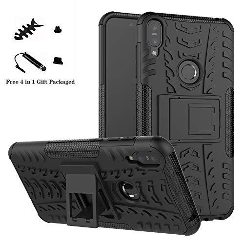 LiuShan Asus Zenfone Max Pro M1 Hülle, Dual Layer Hybrid Handyhülle Drop Resistance Handys Schutz Hülle mit Ständer für Asus Zenfone Max Pro M1 ZB601KL / ZB602K Smartphone,Schwarz