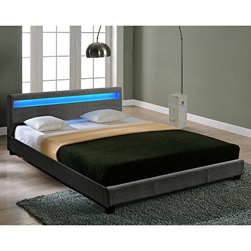 Corium Textil Doppelbett mit LED-Beleuchtung Polsterbett 140x200cm Bettgestell mit Lattenrost Stoff Bett