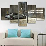 ASDNI 5 Piece Canvas Wall Art Puritalia Berlinetta Race Car Poster Home Decor Prints On Canvas Modern Artwork Picture for Living Room Bedroom Framed Creative Gift