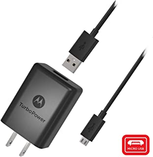 Motorola SPN5970A TurboPower 15+ QC3.0 Wall Charger with SKN6461A Micro USB Cable for Moto G5 Plus, G5S, G5S Plus, E5 Plus, G6 Play [NOT G6 or G6 Plus] (Retail Box)