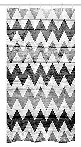 36X72 Inch, Chevron Stall Douchegordijn, Zig Zag Lijnen Patroon Op Houten Textuur Achtergrond Rustieke Home Print,Stof Badkamer Decor Set Met 12 Haken