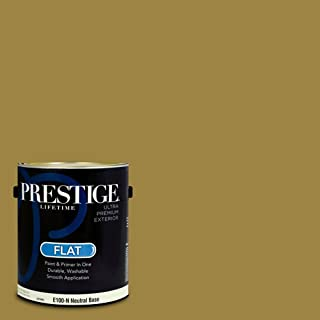 Prestige Paints E100-N-SW6410 Exterior Paint and Primer in One, 1-Gallon, Flat, Comparable Match of Sherwin Williams Brassy, 1 Gallon,
