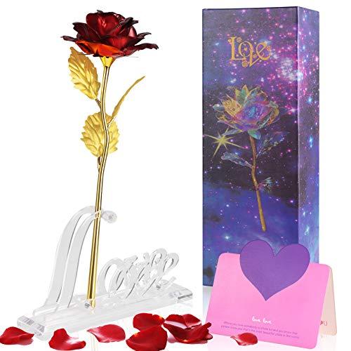 Siebwin Rosa Eterna, Rose Stabilizzate 24K Stelo Lungo con biglietto di auguri pacco regalo, Regali per San Valentino, Compleanno, Festa della Mamma, Anniversario, Matrimonio