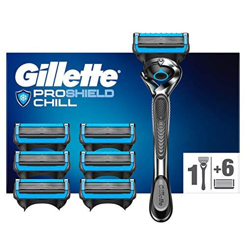 Gillette ProShield Chill Rasierer Herren mit 7 Rasierklingen, 5 Anti-Irritations-Klingen für eine gründliche, langanhaltende Rasur, aktuelle Version