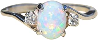 🔥Exquisite Rings Women's Sterling Silver Ring Oval Cut Fire Opal Diamond Band Ring ODGear