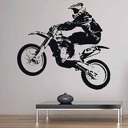 Decalcomania della parete del motociclo della bici della sporcizia che salta Adesivo del vinile della finestra di sport estremi Camera da letto teenager Man Cave Club Decorazione interna Murale
