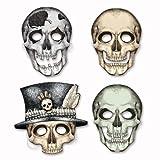 Beistle 01852 Skeleton Masks Halloween Party Supplies, Skeletal Faces, 10.5', Multicolored
