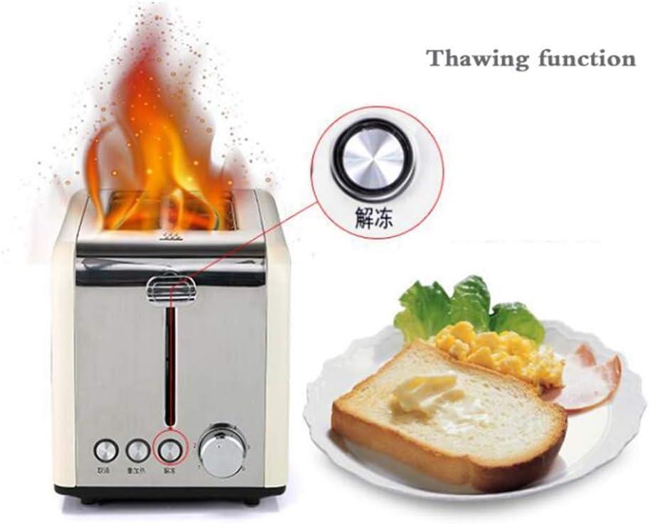 Machine à pain, petit déjeuner maison grille-pain, 2 toasters, conducteur Spit, acier inoxydable, 850W, avec le dégel, Rose Xping (Color : Pink) Pink