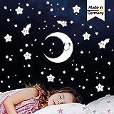 Wandtattoo-Loft Leuchtaufkleber Halbmond Sterne mit niedlichen Gesichtern - 75 STK. Aufkleber im Set - selbstklebend und fluoreszierend - Extra Starke Leuchtkraft