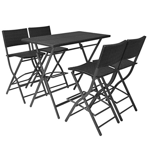 Tidyard Gartenbar Garten-Essgruppe 5-TLG.Mit 1 Klapptisch und 4 Klappstühle Barhocker,Gartenmöbel-Set,Gartengarnitur Sitzgruppe Gartenstuhl Terrassenstuhl Tisch Stuhl für Außen-und Inneneinsatz