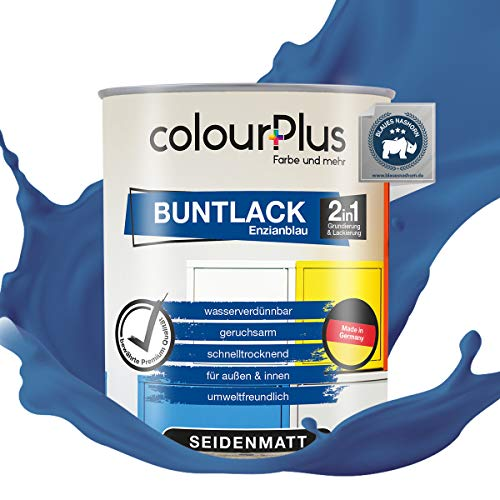 colourPlus® 2in1 Buntlack (750ml, RAL 5010 Enzianblau) seidenmatter Acryllack - Lack für Kinderspielzeug - Farbe für Holz - Holzfarbe Innen - Made in Germany