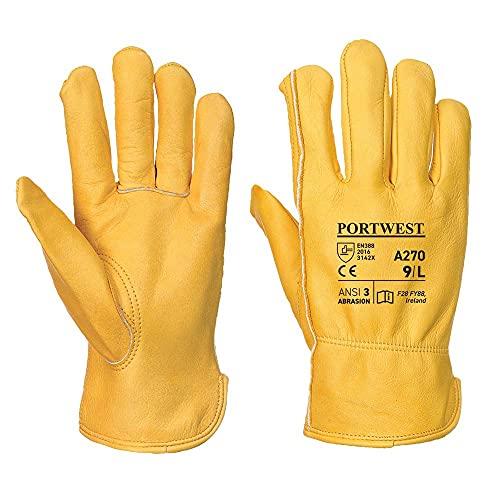 Portwest A270TARL Classic Driver Glove, Regular, Size: Large, Tan
