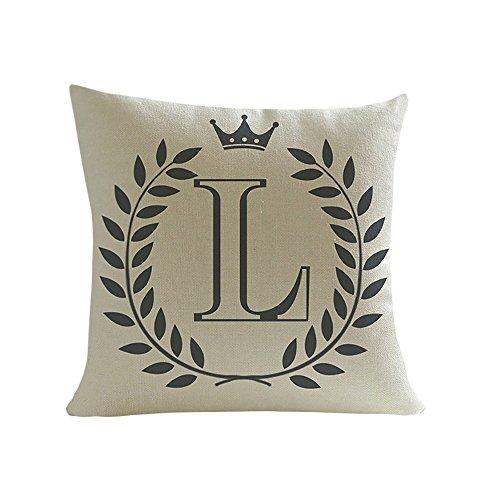 Xmiral Kissenbezug Englisches Alphabet Muster Baumwolle Leinen Pillowcase Zierkissenbezüge(L)