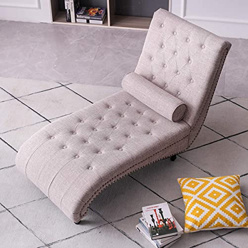 YC Chaise Lounge Sofa Bed Accent Chair Linen Indoor Loungers for Living Room Wooden Legs 140x66x87cm