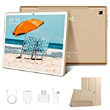 Tablet 10.1 Zoll 4G LTE Tablet-PC, Octa Core Android 9.0 Zertifiziert von Google GMS 4GB RAM, 64GB ROM Tablet IPS HD, 8000 mAh, Doppelt Lautsprecher Stereo,WiFi/Bluetooth/GPS/OTG Type-c - Gold