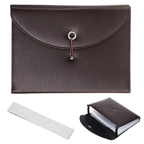 BTSKY PU Leather Expanding File Folders-13 Pockets A4 Letter Size Paper File Folder Accordion Business Document Organizer with Fasteners and Tabs (Brown)