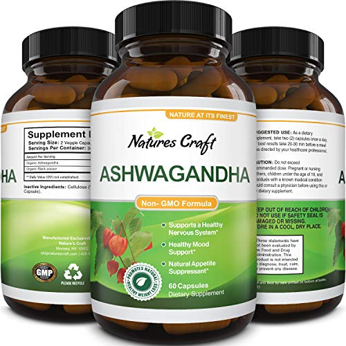 Natures Craft's Best Ashwagandha Root Powder tablet – Premium Relaxation Sleep Natural Supplement – Stress Relief Energy Rejuvenate 100% Pure Potent Ingredients for Women and Men