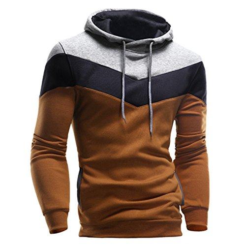MORCHAN Hommes Rétro à Manches Longues à Capuche Sweat à Capuche Hauts Outwear Manteau de Veste(XXX-Large,Café)