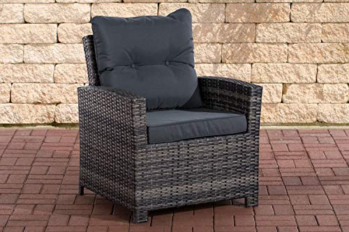 CLP FISOLO Polyrattan Armchair with Seat Cushion I Robust Garden Chair with Aluminium Frame I Available eisengrau grey mixed